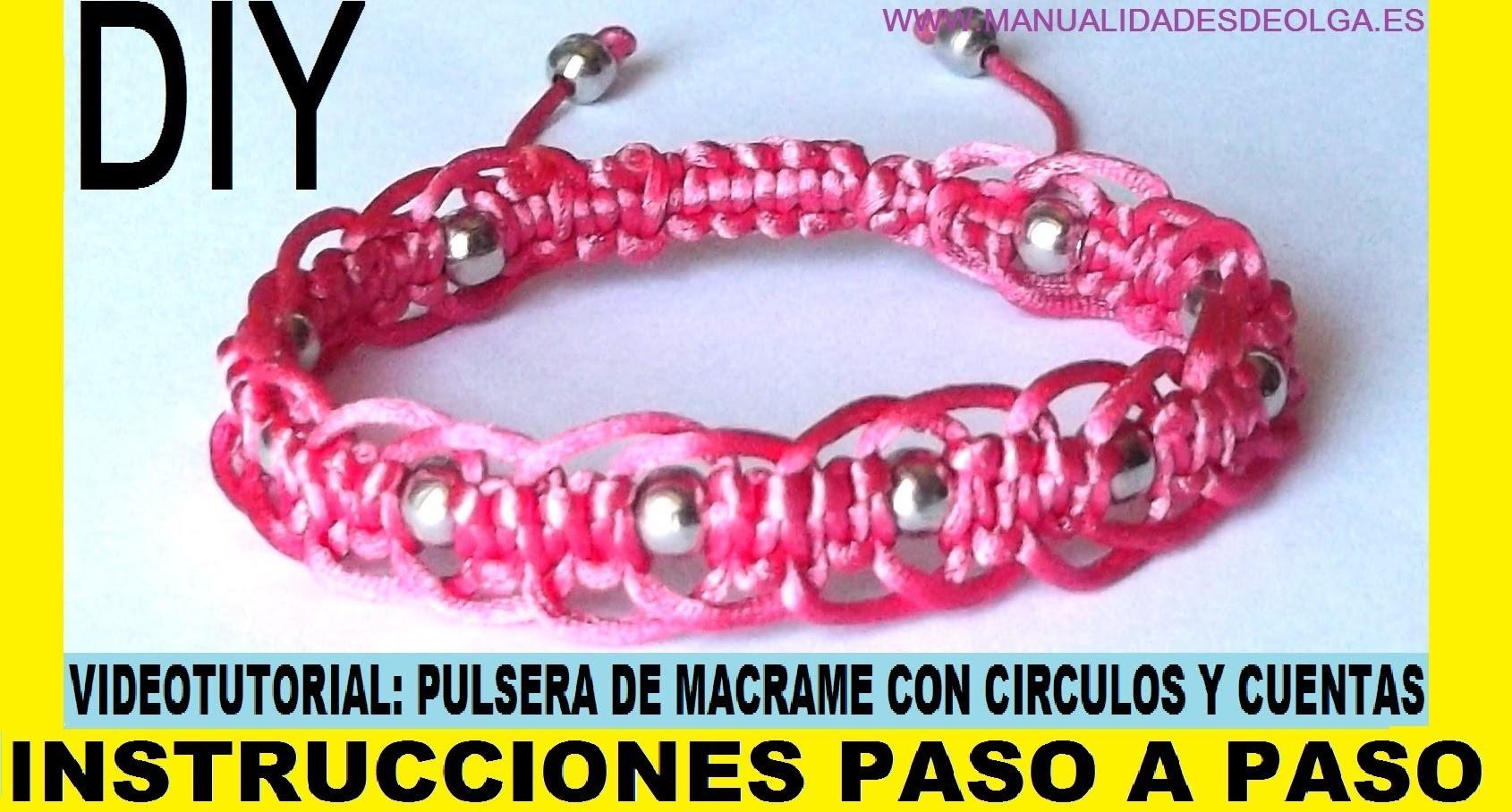 COMO HACER PULSERA DE MACRAME DE CIRCULOS CON CUENTAS PLATEADAS CON NUDO AJUSTABLE TUTORIAL DIY