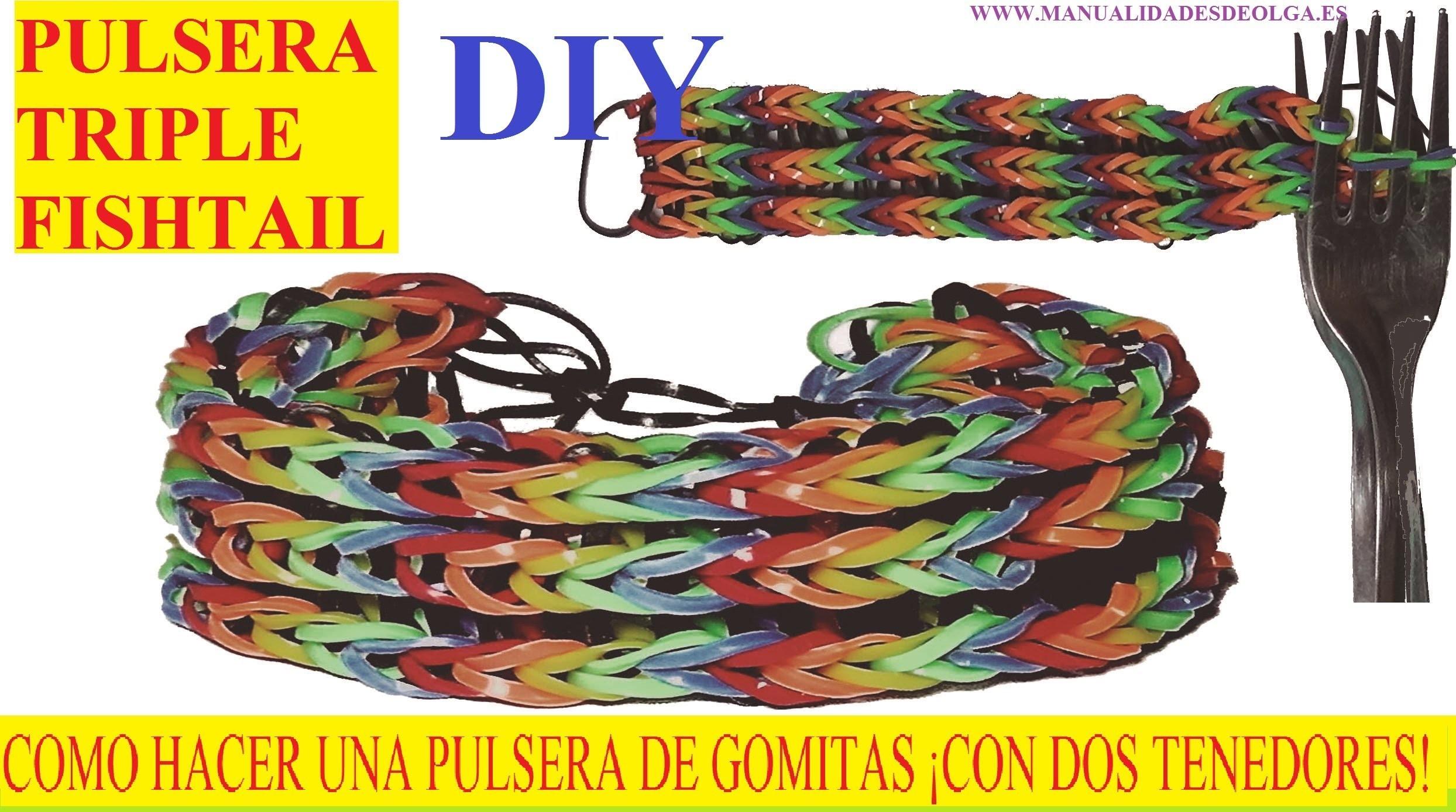 COMO HACER PULSERA TRIPLE FISHTAIL ¡CON DOS TENEDORES! SIN TELAR TUTORIAL ESPAÑOL DIY