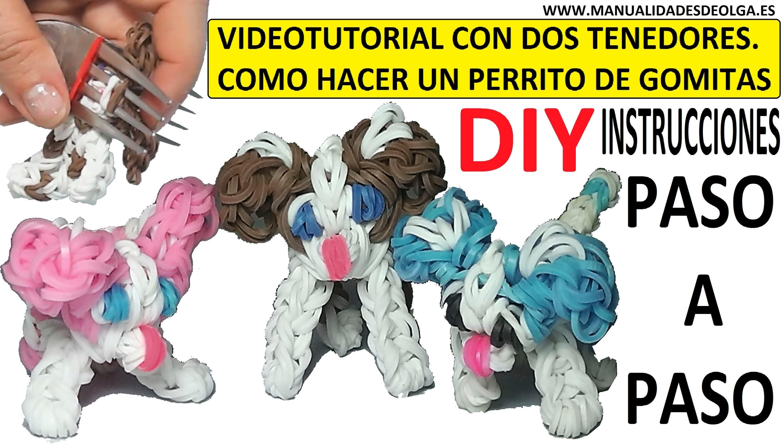 COMO HACER UN PERRITO DE GOMITAS CON DOS TENEDORES. DOG CHARM. TUTORIAL DIY