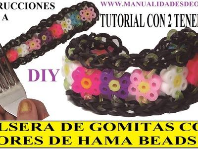 COMO HACER UNA PULSERA DE GOMITAS CON FLORES DE HAMA BEADS CON DOS TENEDORES. figuras de hama beads.