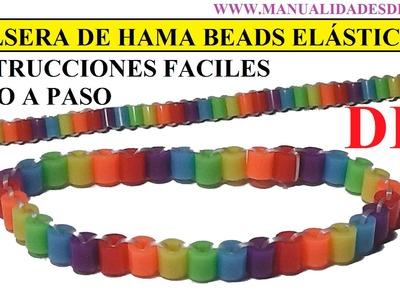 COMO HACER UNA PULSERA ELÁSTICA DE HAMA BEADS MUY FACIL, TUTORIAL DIY