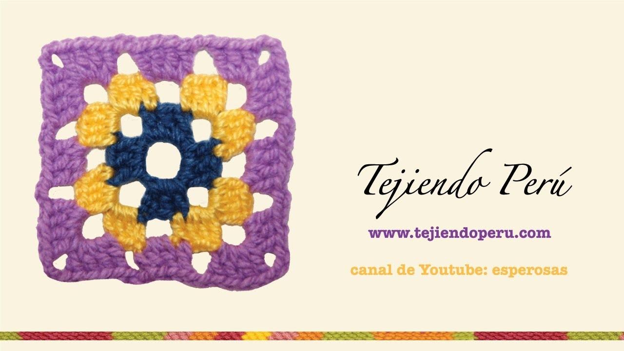 Cómo tejer un cuadrado a crochet a colores (granny square) en 3 hileras