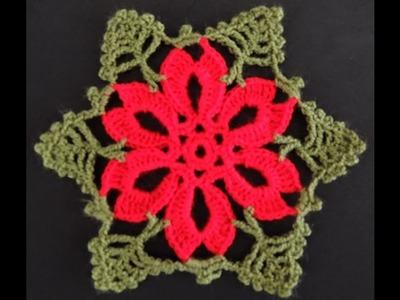 Crochet : Flor de Navidad # 2.  Parte 2 de 2