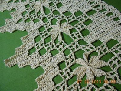 Crochet orilla de picos con flor 4 de 4