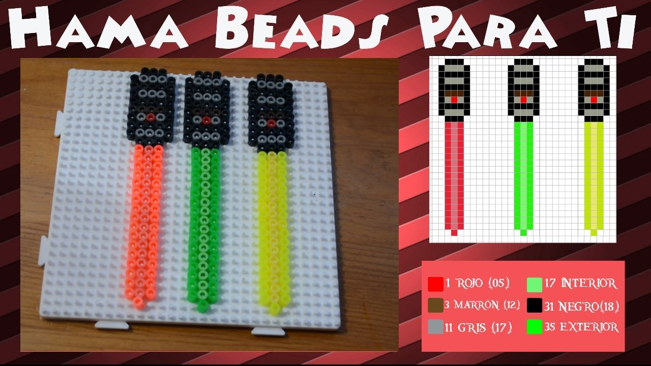 Espada láser (Brilla en UV) - Tutorial Hama Beads