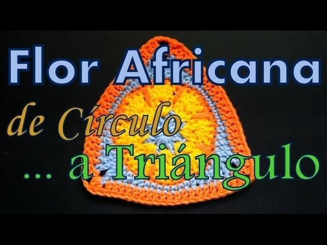 Flor africana: transformar círculo en triángulo (circle to triangle) -tejido para zurdos-