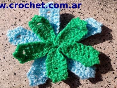 Flor N° 2 en tejido crochet tutorial paso a paso.