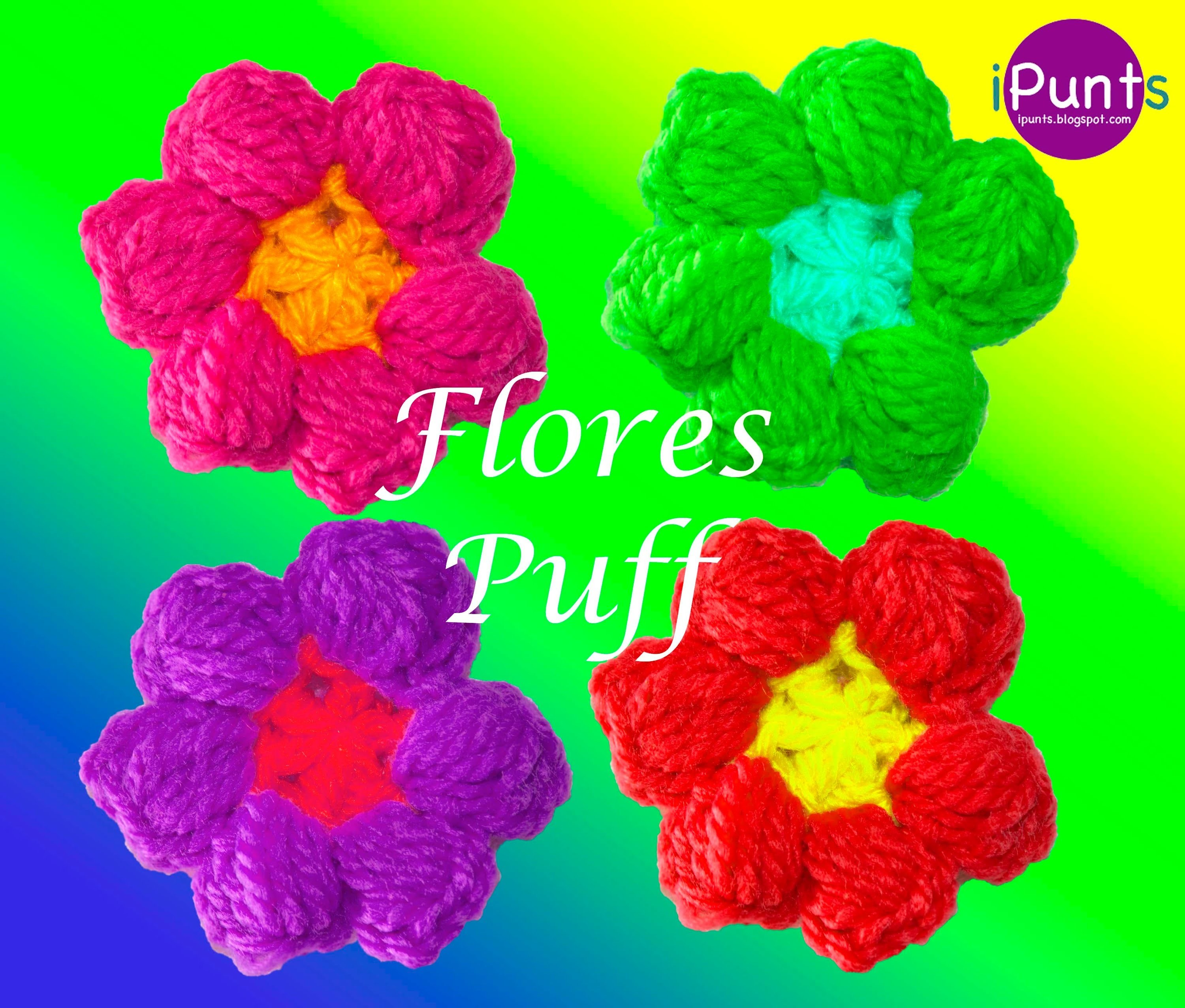 Flores puff crochet paso a paso my crafts and diy projects - Hacer flores de ganchillo ...