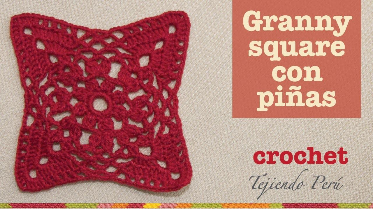 Granny square o cuadrado tejido a crochet con piñas y varetas