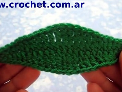Hoja N° 3 en tejido crochet tutorial paso a paso.