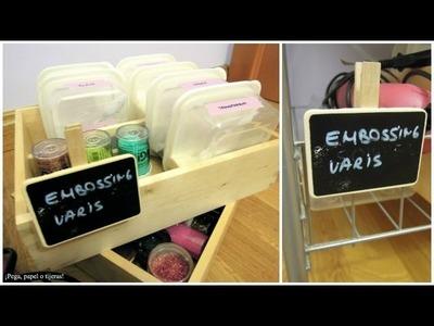 Organiración para manualidades: Cómo organizar los productos de Embossing. Tutorial Scrapbook
