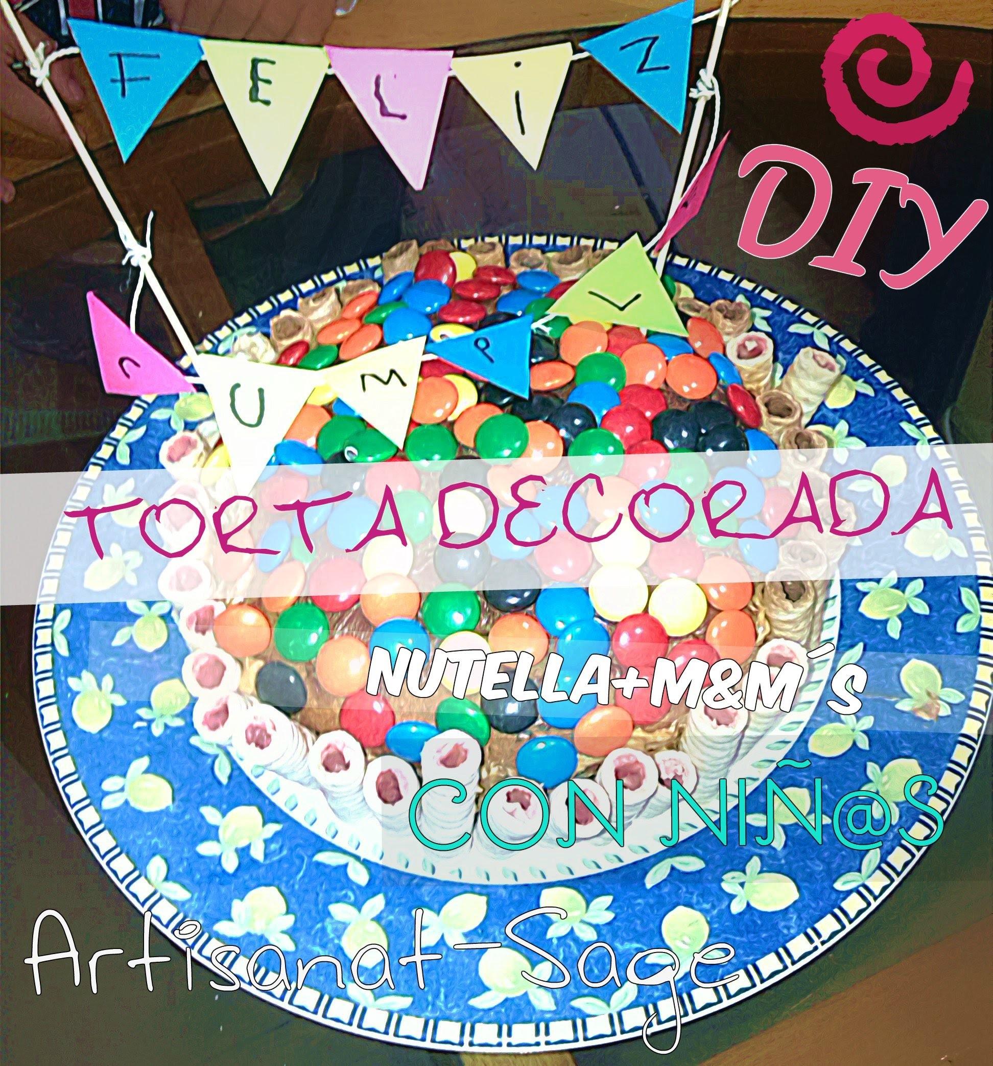 Ponque de cumpleaños decorado.Facil.Con Niñas.DIY-Cake Nutella