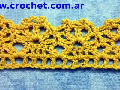 Puntilla N° 29 en tejido crochet tutorial paso a paso.