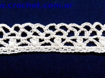 Puntilla Nº 8 en tejido crochet tutorial paso a paso.