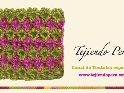 Punto fantasía # 28 tejido a crochet: piquitos en triángulos