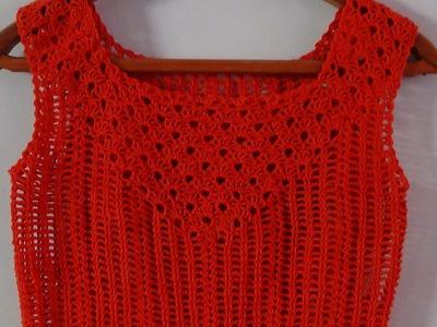 Tutorial Blusa Escote Cuadrado Continuación a Crochet Vídeo 3 de 5
