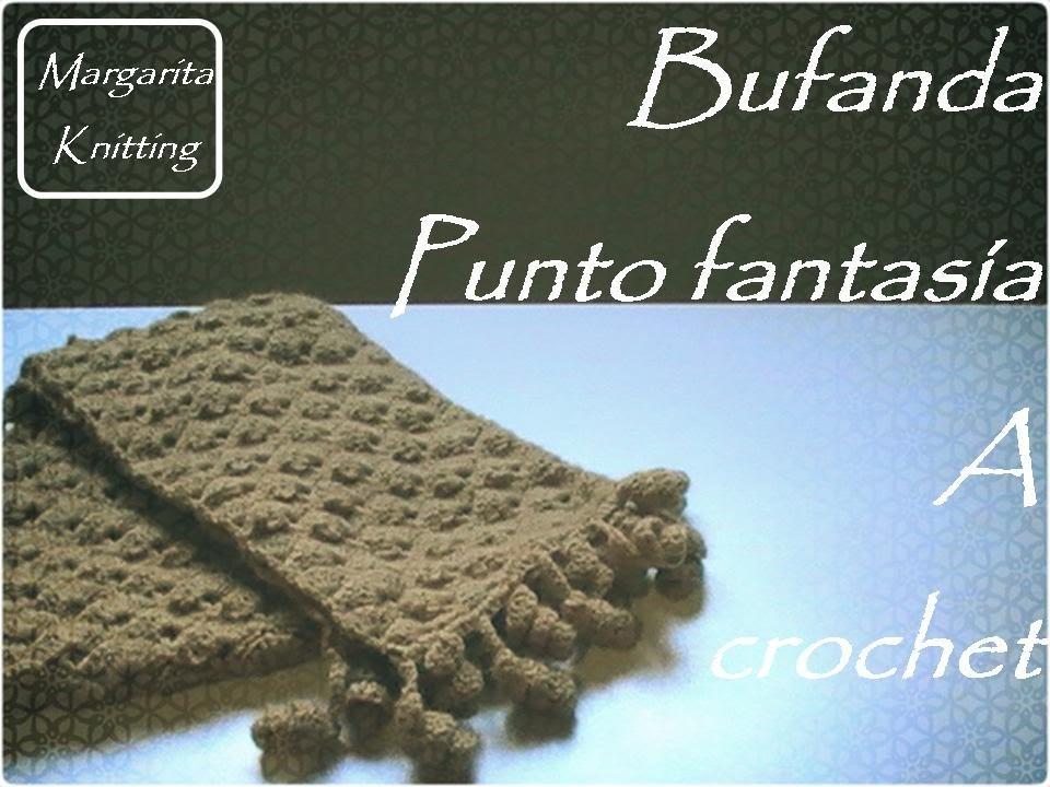 Bufanda a crochet punto fantasía (zurdo)