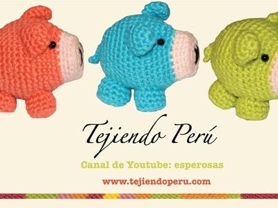 Chanchito tejidos en crochet  (amigurumi) Parte 3: tejiendo las patas, orejas y cola