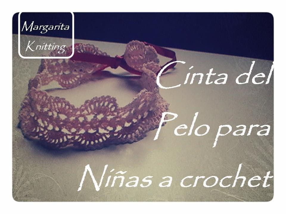 Cinta del pelo para niñas a crochet (diestro)