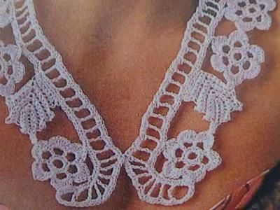 Collar.cuello tejido a crochet en cordonnet