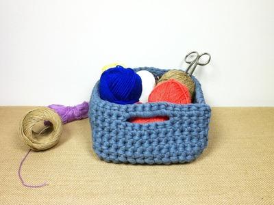 Cómo hacer un cesto cuadrado de trapillo (Tutorial DIY)