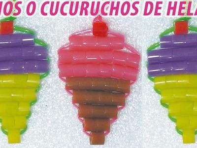 Como hacer un cucurucho o cono de helado con perlas de hama beads o cuentas e hilo scoubidou