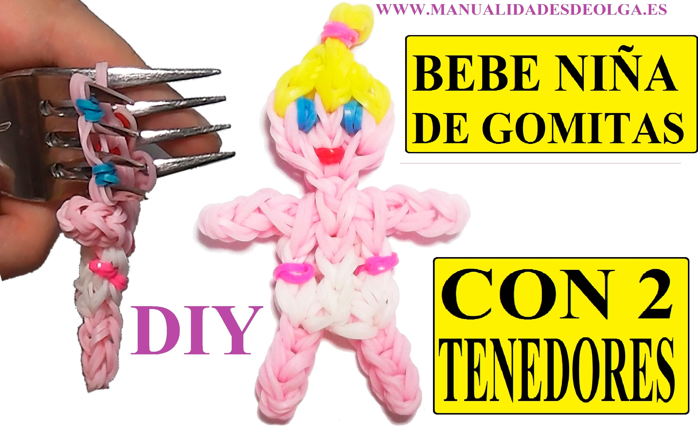 COMO HACER UNA BEBE NIÑA DE GOMITAS (BABY GIRL CHARM) CON DOS TENEDORES. TUTORIAL DIY