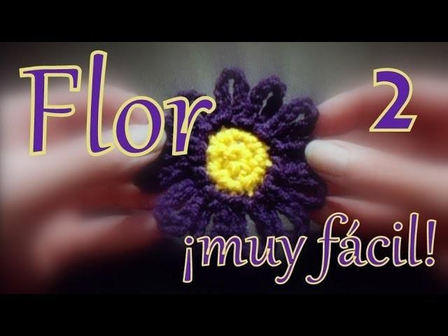 Cómo hacer una flor muy fácil al crochet (easy crochet flower) 2° parte -tejido para zurdos-