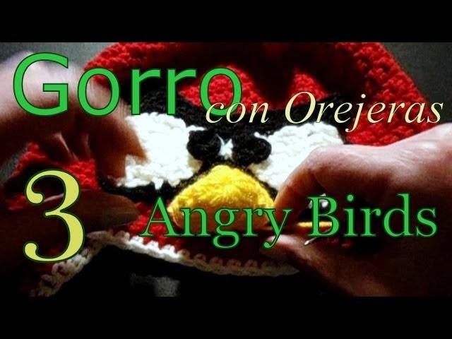 Cómo tejer gorro Angry Birds 3° parte (crochet earflap hat) -tejido para zurdos-