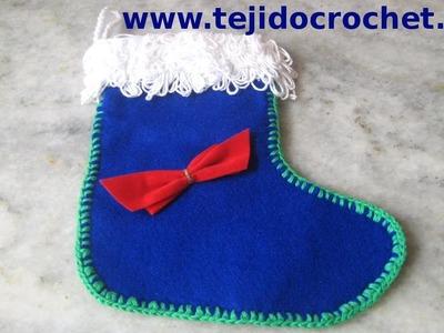 Como tejer una Bota de navidad con tejido crochet y tela tutorial paso a paso.