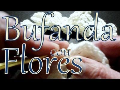 Cómo tejer una bufanda con flores (crochet flower scarf lariat) -tejido para zurdos-