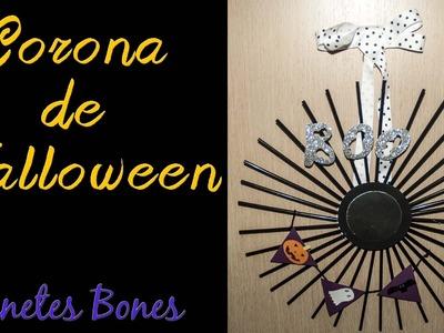 Corona de Halloween para puertas | Tutorial DIY