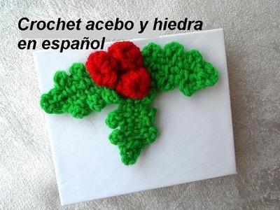 Crochet acebo y hiedra en español