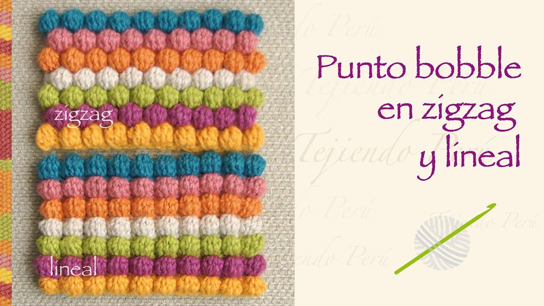 Crochet bobble stitch en zigzag y en forma lineal!