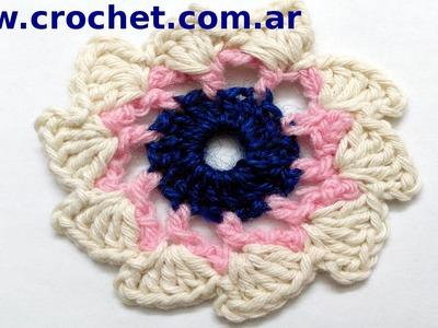 Flor N° 9 en tejido crochet tutorial paso a paso.