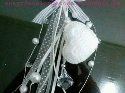 Llavero de corazón tejido a crochet
