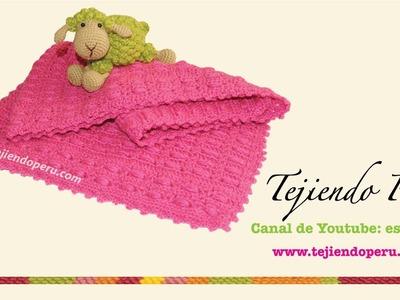 Manta o cobija para bebé tejida a crochet punto fantasía # 47
