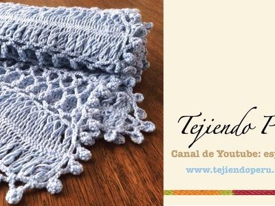 Manta o cobija para cuna de bebé tejida en horquilla y crochet