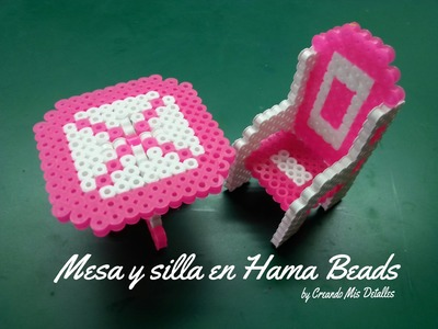 Mesa y silla en Hama Bead - Perler Bead (table and chair)