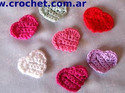Mini Corazon en tejido crochet tutorial paso a paso.