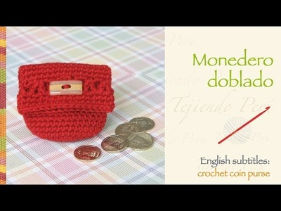 Monedero doblado tejido a crochet. English subtitles: crochet folded coin purse!