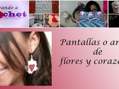 Pantallas o aretes de flores y corazones - Tutorial de tejido crochet