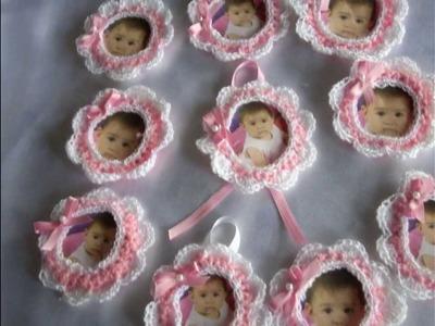Portarretratos a crochet,cumpleaños,bodas,15 años,bautizmos,etc.