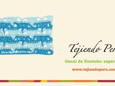Punto fantasía # 46 tejido a crochet: V en dos colores
