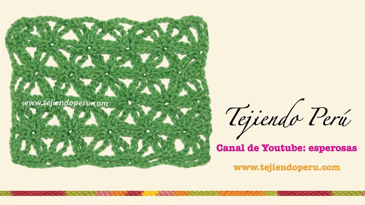 Punto fantasía de flores con cadenas para tejer a crochet