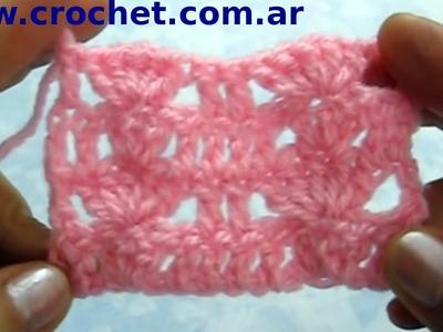 Punto fantasía N° 62 en tejido crochet tutorial paso a paso.