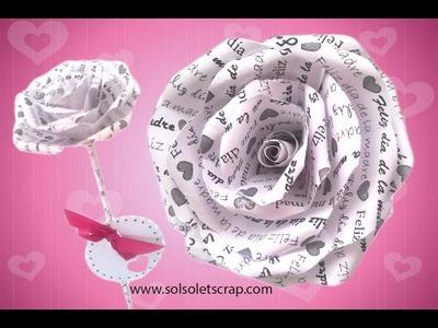 Regalo ideal para el día de la madre. Rosa de papel scrapbook. (Fácil)