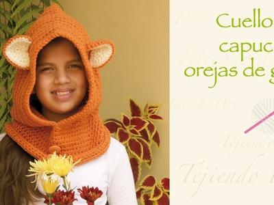 Super fácil: Cuello capucha con orejas de gato tejida a crochet. Easy: crochet cat hooded cowl