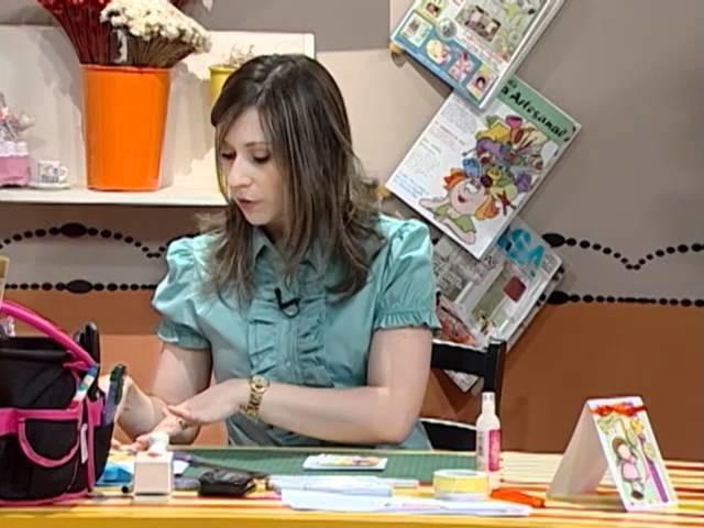 Tarjeta de Felicitaciones en Scrapbook - con muñeca Magnolia