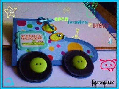Tarjeta scrapbook  para niño ( en forma de patin)